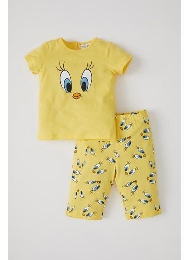 DeFacto Kız Bebek Tweety Lisanslı Kısa Kol Pijama Takımı Sarı
